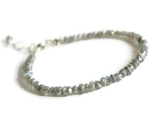 Labradorite bracelet, sterling silver bracelet, stackable bracelet, labradorite jewelry, genuine gemstone