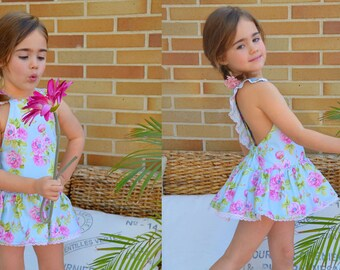 Play Suit with Skirt playsuit romper baby toddler girls PDF Sewing PATTERN+YOUTUBE Tutorial **size 6 months to 6 years** Spanish Design **