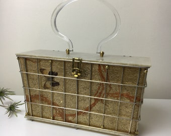 50's Iconic Atomic Age Large Lucite Butterfly Handbag