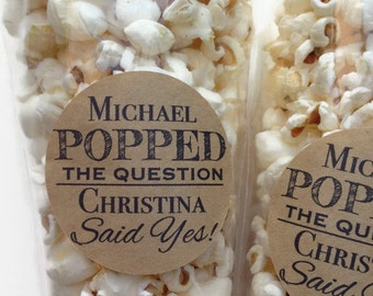 12 x Popped the question stickers, Wedding favour stickers, popcorn favour stickers, engagement favour stickers, 028