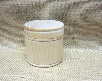 "Wooden Box Unfinished Large Size Trinket Box Jewelry Box Powder Box Gift Box 2-11/16"" In Diameter x 2-5/8"" Tall"