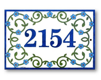 Outdoor House Number, House Numbers, Address Numbers, Flower House Numbers