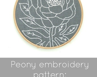 Peony embroidery pattern, floral embroidery, modern hand embroidery pattern, DIY hoop art, I Heart Stitch Art, botanical embroidery DIY