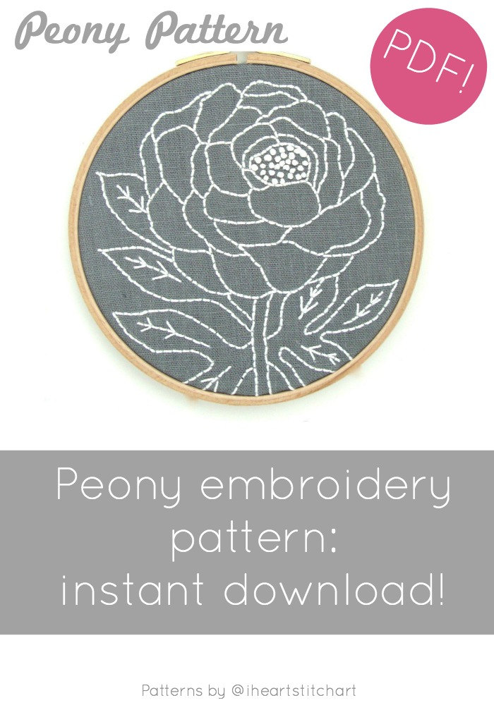 Peony embroidery pattern digital download dt1010fo