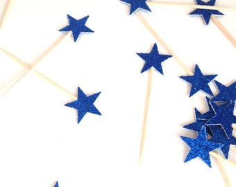 24 Petite Blue Glitter Star Cupcake Toppers - Food Picks - Party Picks