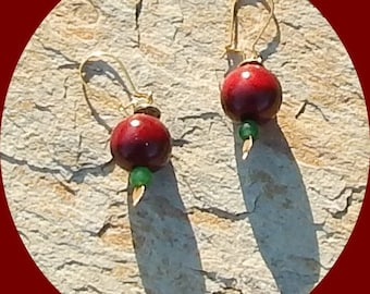 Now Only TWO Dollars Wooden Oxblood and Green Aventurine Earrings
