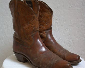 "1930's ""Olsen Stelzer"" Brown Leather Western Boots / Men's Size: 10"