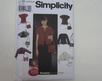 Simplicity 9016 Misses' Fashion Trims Jacket, Purses, Knit Jacket Uncut Sewing Pattern Sizes 14, 16, 18, 20, Simplicity 9016 uncut pattern
