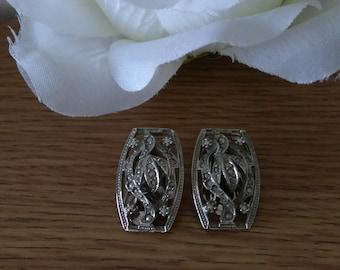 Vintage Silver Tone Clip On Faux Marcasite Earrings
