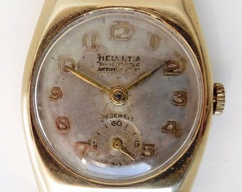 Gents 1951 9ct Gold Helvetia 82C Mechanical 17J Watch With Sub Dial for Sale