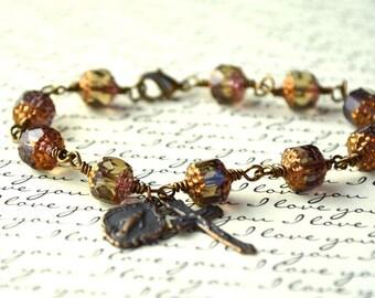 Wire Wrapped  Rosary Bracelet -  Rosary Bracelet - Colors available Jasper, Royal Blue, Aqua - Tenner Rosary