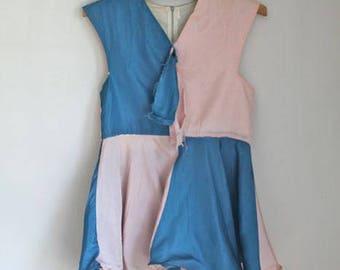 Vintage 1950s Show Costume Circus Skater Dress / Mini Dress / XXS-XS / Blue & Pink