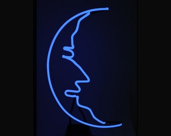 Man in the Moon Real Neon Art Tabletop Freestanding Light Lamp Sculpture