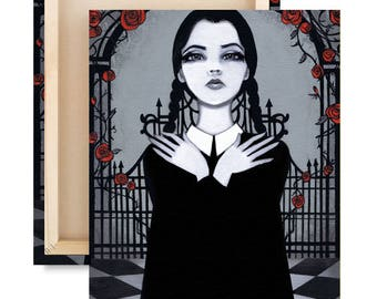 LIMTED EDITION Wednesday Addams Canvas Reproduction Print 3 of 25