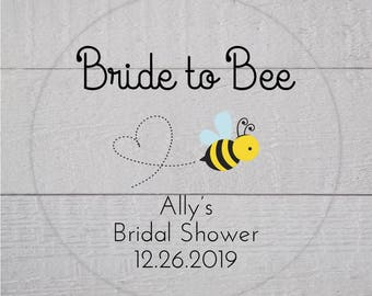Bride to Bee Bridal Shower Labels, Clear Transparent Wedding Shower Stickers, Bridal Favor Stickers (#186-C)