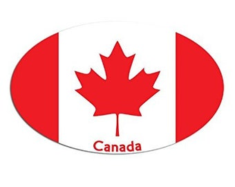 OVAL Canadian Flag w CANADA Sticker (car leaf decal)