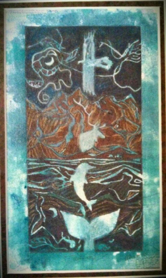 Sprit Totem monoprint 4 x 8 linocut print
