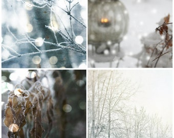 Winter photography set of four winter photography winter art winter wall art winter home decor snow wall art photo set snow decor BLIZZARD