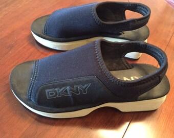 Vintage DKNY wedge sling-back sandals size 10M