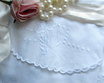 Antique Vintage Pillowcase Set, White on White Embroidery, Shabby Cottage, Pillow Case Set, Shabby French, by mailordervintage on etsy