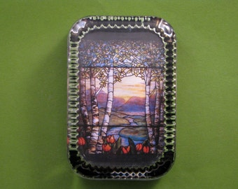 Tiffany Birch Trees, Tree Paperweight, Tiffany Paperweight, Stained Glass, Tiffany Glass, Heirloom Rectangle, Glass Paperweight, Home Decor
