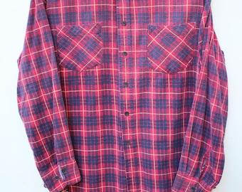 Red Faded Flannel / Men's MEDIUM M / 90s Grunge Flannels / Well-worn, Distressed