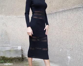 Black Knit Dress/Cozy Dress/Sweater Dress/Knit Dress/Women Ribbed Dress/Handmade Dress/Stripe Dress/F1576