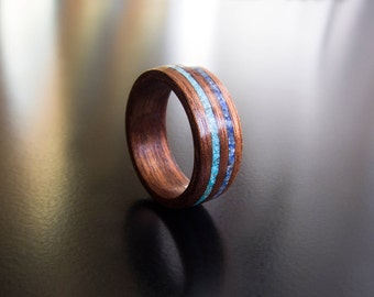 wood engagement ring,Womens wood ring, turquoise and lapis lazuli,ring inlay,ring for women, Bentwood ring, Christmas present, redwood, gift