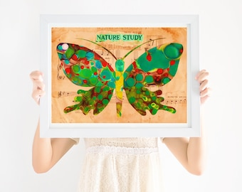 Nursery Art Boho, Green Butterfly, Gender Neutral Nursery, Printable Wall Art, Girls Nursery Art, Boys Nursery Art