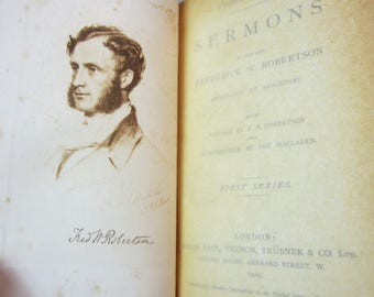 Antique Christian Book Collectible  SERMONS Preached Brighton Frederick Robertson 1886 Old Handwritten Letter Pastor Reverend Gift