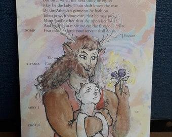 Puck and Oberon - A Midsummer Night's Dream A5 illustration print