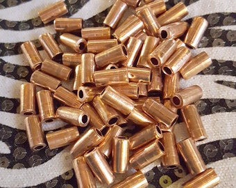 Tube Beads Raw Copper 1/2 Inch 10 Piece Burnished Shiny Finish from reclaimed metal, ecofriendly jewelry making supplies handmade in the USA