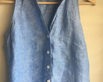 Light Blue I.N.C Linen Blouse Size 12 New