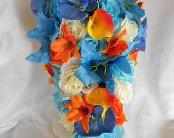 Turquoise , tangerine and ivory bridal cascading wedding  bouquet 2 pieces free toss lilies  ,orchids callas and roses