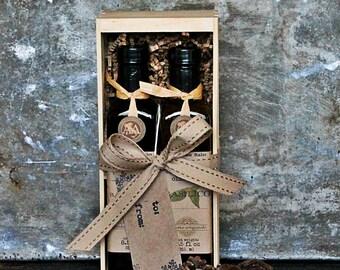 Olive Oil & Balsamic Vinegar Gourmet Gift Set - Gourmet Hostess Gift - Crate Gift - Crate Food Gift - Olive Oil and Vinegar Set