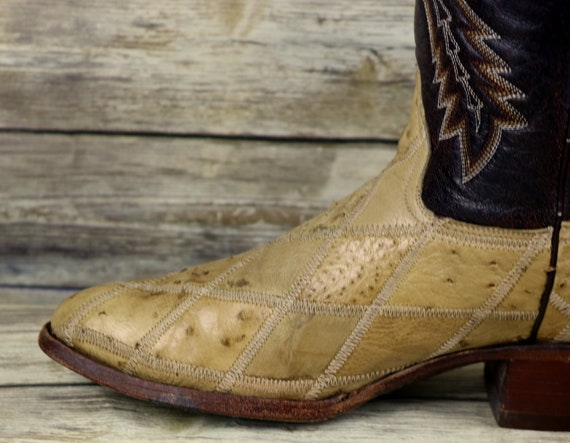 Mens Wide 9 Patchwork EE Rudel Ostrich Brown Size Western Boots Extra Cowboy waqqv1WTX