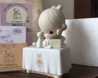 Vintage Enesco / 1989 PRECIOUS MOMENTS COLLECTION / My Happiness / Figurine