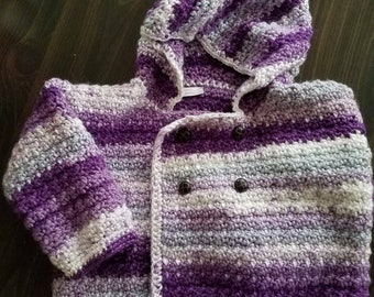 Purple Reign Stripe Hooded Double Breasted Sweater