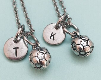 Best friend necklace, soccer necklace, soccer charm, bff necklace, friendship jewelry, personalize necklace, initial necklace, initial charm