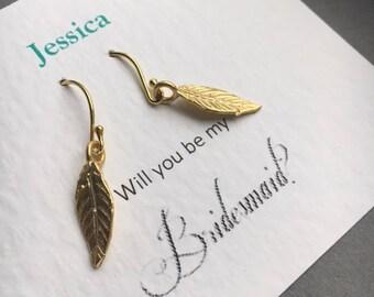 Gold Leaf Earrings, Bridesmaid Earrings, Leaf Earrings, Bridesmaid Gift, Birthday Gift, UK Seller,Mothers Day Gift