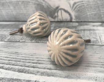 Ceramic Knobs, Denim Blue & Antique White, Knob, Dresser Drawer Cabinet Pull, Decorative Pulls Furniture Upgrade, Item #516971626