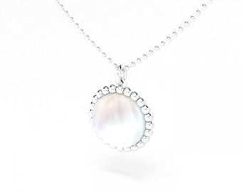 Mother of Pearl cabochon and silver Cocktail necklace