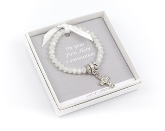First Holy Communion pearlescent childsize bracelet with a sparkly cross - Handmade in the UK