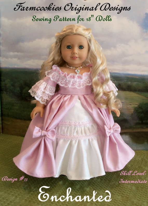 """PRINTED Sewing Pattern / ECHANTED / Fits  American Girl®  or Other 18"""" Dolls"""