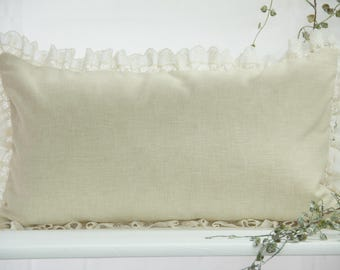 Cushion cover in beige with lace, 50 x 30 cm