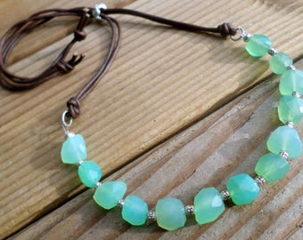 Chrysoprase Necklace and Hill Tribe Silver, May Birthstone, AAA Chrysoprase and Sterling Silver, Artisan Style