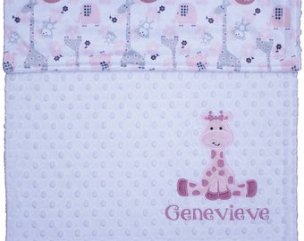 Personalize Baby Blanket, Giraffe minky blanket, Pink & Grey Minky Baby Girl Giraffe Blanket, Custom your own colors