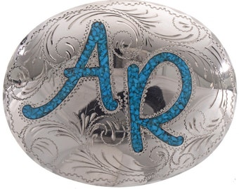 Custom Belt Buckle Inlaid Turquoise Initials