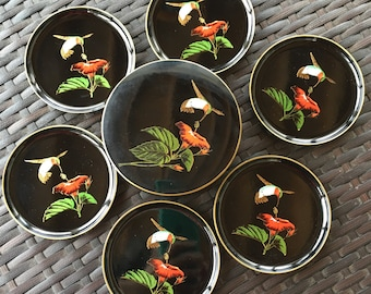 SALE!!  Otagiri 1980's Black Lacquerware Hummingbird and Hibiscus Round Coaster Set