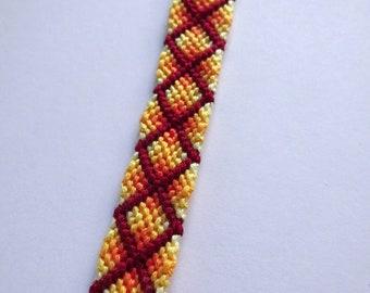 Fiery red and yellow diamond pattern friendship bracelet